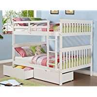Donco Kids 689498 Full Mission Bunkbed Dual Underbed Drawers, White