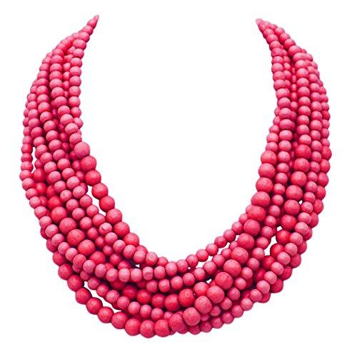 - Rosemarie Collections Women's Wooden Bead Multi Strand Statement Bib Necklace (Fuchsia)