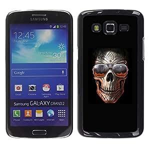 Shell-Star Arte & diseño plástico duro Fundas Cover Cubre Hard Case Cover para Samsung Galaxy Grand 2 II / SM-G7102 / SM-G7105 ( Skull Teal Purple Black Floral Crossbones )