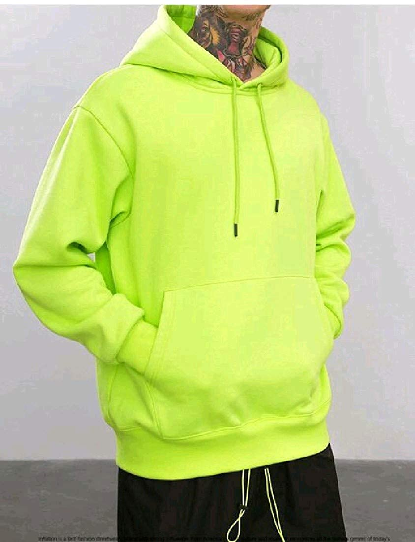 Abetteric Mens Solid-Colored Thick Plus Velvet Hood Hoodie Shirt Top