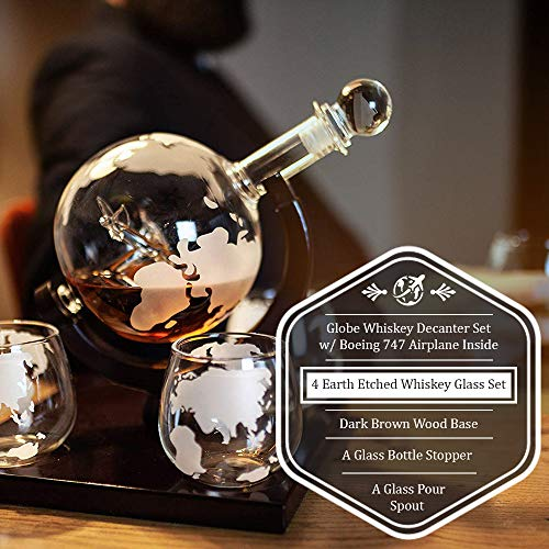 Globe Whiskey Decanter Set w/Boeing 747 Airplane Inside – Includes 4 Earth Etched Whiskey Glass Set – Elegant Whiskey Decanter Globe, Whiskey Glasses & Dark Brown Wood Base (Holds 850ml) by Live in Sync (Image #2)