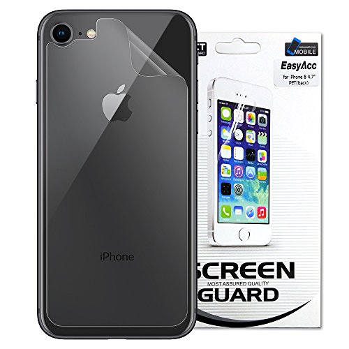 EasyAcc Back Protector for iPhone 8 [1 Pack], 0.01mm Ultra Slim Anti-Scrach High Definition Clear Protector Shield - PET Soft Film Compatible For iPhone 8/iPhone 7 Jet Black