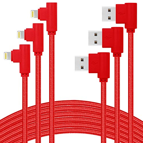 ANSEIP MFI Certified Right Angle iPhone Charger 10ft 3 Pack 90 Degree Lightning Cable Compatible with iPhone Xs MAX/XR/X/8 8 Plus/7 7 Plus/6 6 Plus/iPad and More (Red,10ft) -