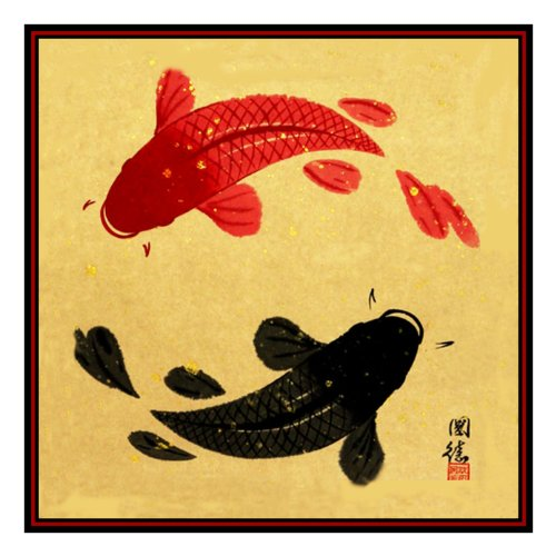 - Orenco Originals Ying Yang Koi - Carp Asian Folk Art Counted Cross Stitch Pattern