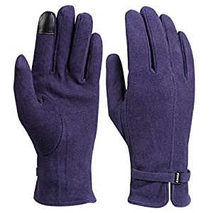 OZERO Thermal Gloves Girls and Womens Wool Texting Winter Gloves with Deerskin Leather for Cycling and Driving - Full Finger Coldproof Gloves in Winter - Purple(Extra Large)