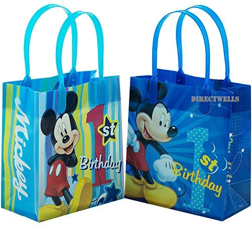 Disney Mickey Mouse 1st Birthday Authentic Licensed 12 Reusable Small Goodie Bags - Birthday Loot Bags First