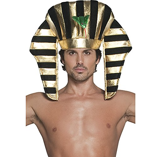 Smiffy's Men's Pharaoh Headpiece, Black & Gold, Soft, One Size, 30284