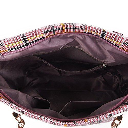 Zipper Bags Plaid Rose Wallet Handbag Purse Set Tote 5 Shoulder Messenger Women's Clutch Anguang Prinetd Travel Pieces Bag qP4wTt5
