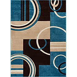 "Echo Shapes & Circles Blue & Brown Modern Geometric Comfy Casual Hand Carved Area Rug 5x7 ( 5'3"" x 7'3"" ) Easy Clean Stain Fade Resistant Abstract Contemporary Thick Soft Plush Living Room Rug"