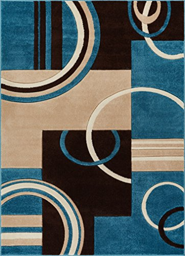 (Echo Shapes & Circles Blue & Brown Modern Geometric Comfy Casual Hand Carved Area Rug 8x10 8x11 ( 7'10