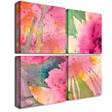 Trademark Fine Art Composition in Pink by Sheila Golden, Four Panel Set