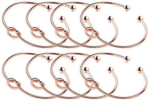 ANBALA Love Knot Bangle Bracelet Bridesmaid Gifts Bracelets, Tie The Knot Cuff Bangle Stretch Bracelet for Bridesmaid, Rose Gold Tone, Set of 8