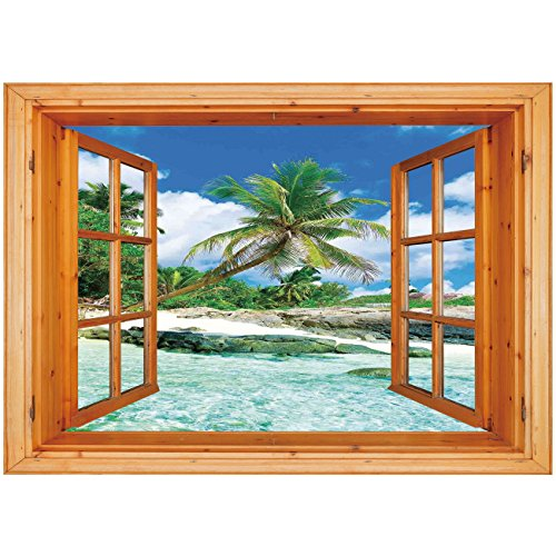 iPrint 3D Depth Illusion Vinyl Wall Decal Sticker [ Seaside Decor,Scene Rocks Palms Shades Jungle Honeymoon Islands Remote Resort Leisure, Window Frame Style Home Decor Art Removable Wall Sticker