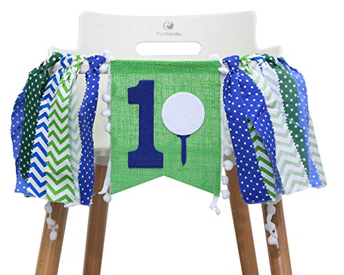 1st Highchair Banner for Golf Birthday - Party Decorations for First Birthday - Party Photo Prop Bunting Backdrop Cake Smash First One - The Best Choice for Party Surprises (Golf HIGH Chair Banner) ()