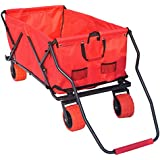 Impact Canopy Folding Utility Wagon Collapsible All Terrain Beach, Extra Large, Red