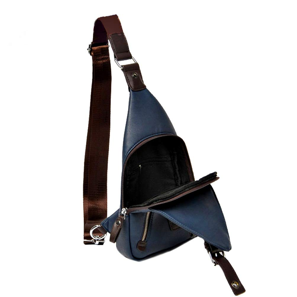 Allbest2you Men Chest Pack Bag Leather Sling Shoulder Waist Cross body Backpack Blue