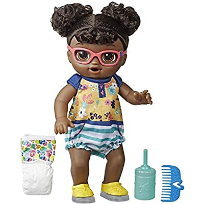 Baby Alive Step 'N Giggle Baby Black Hair Doll with Light-Up Shoes, Responds with 25+ Sounds & Phrases, Drinks & Wets, Toy for Kids Ages 3 Years Old & Up: Toys & Games