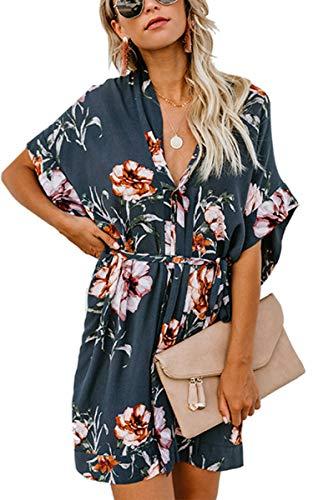Angashion Women's Dresses- Casual Floral Deep V Neck Short Sleeve Tie Waist Mini Skater T Shirt Dress