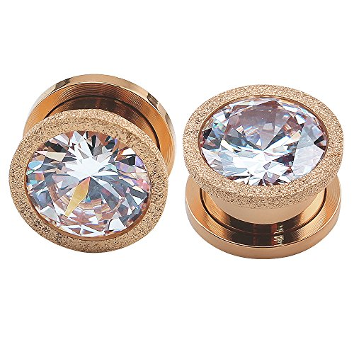 (ZS Rose Gold Stainless Steel Screw Big Cubic Zirconia Ear Gauges Plugs Tunnels Expander Body Piercing (Gauge=2g(6mm)))