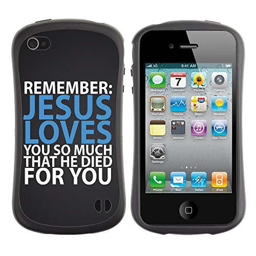 DREAMCASE Citation de Bible Silicone et Rigide Coque Protection Image Etui solide Housse T¨¦l¨¦phone Case Pour APPLE IPHONE 4 / 4S - JESUS LOVES YOU SO MUCH THAT HE DIED FOR YOU