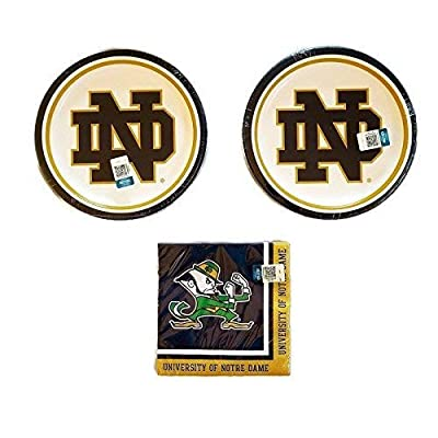 """Notre Dame Fighting Irish Party Bundle 9"""" Plates (16) Lunch Napkins (20): Toys & Games"""