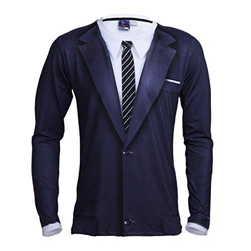TiaoBug Men's Long Sleeve T-Shirt Tops 3D Printed Tuxedo Shirt Wedding Party Formal Suit by TiaoBug