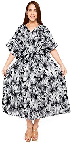cotone indossare kimono abiti l coprire tunica j898 spiaggia maxi di lungo LA LEELA bikini 4x caftano Nero 5w1qwY