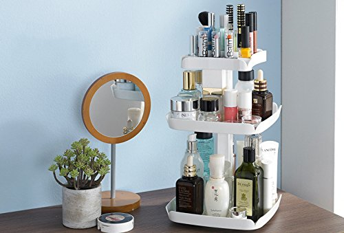 Makeup Organizers 360 Degree Rotation Cosmetic Storage Box Makeup Tools Holder Organizador 212139cm (White)