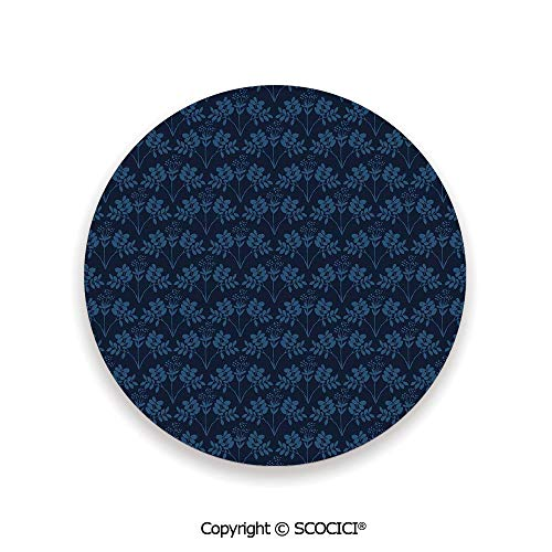 Ceramic Coaster With Cork Mat on the back side, Tabletop Protection for Any Table Type, round coaster,Indigo,Ocean Inspired Garden Botanic Floral Details Leaves,3.9
