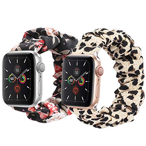 LOBKIN compatible with Apple Watch Band Series SE 6 5 4 3 2 1 Scrunchies 38mm/40mm/42mm/44mm Soft Elastic Strap iWatch Cloth Pattern Printe Fabric Wristband Bracelet Women Cute Sport Replacement Bands