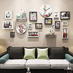 [LOVES] Photo Wall Decorative Clock Living Room Wall Hanging Frame Wall Combination Photo Frame (Color : Group C)
