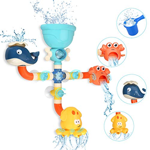 Bath Toys for Toddlers Kids 1 2 3 4 5 Years Old Boys and Girls, Bathtub Toy Baby Bathing DIY Pipes Tubes with Spinning Waterfall Water Spout Color Box