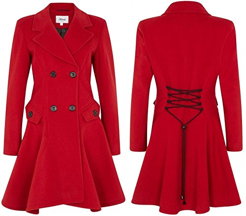 De la Creme - Women's Wool & Cashmere Winter Double Breasted Coat, Red, Size 16 - Breasted Cashmere Double