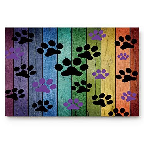 ALAGO Dirty Dog Paw Prints Doormats Entrance Front Door Rug Outdoors/Indoor/Bathroom/Kitchen/Bedroom/Entryway Floor Mats,Non-Slip Rubber,Low-Profile (Paw Print Rug)