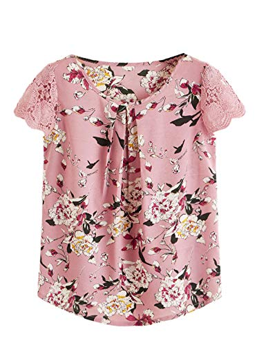 Milumia Women's Boho Flower Print Lace Sleeve Pleated Cap Sleeve Work Blouse Top ()