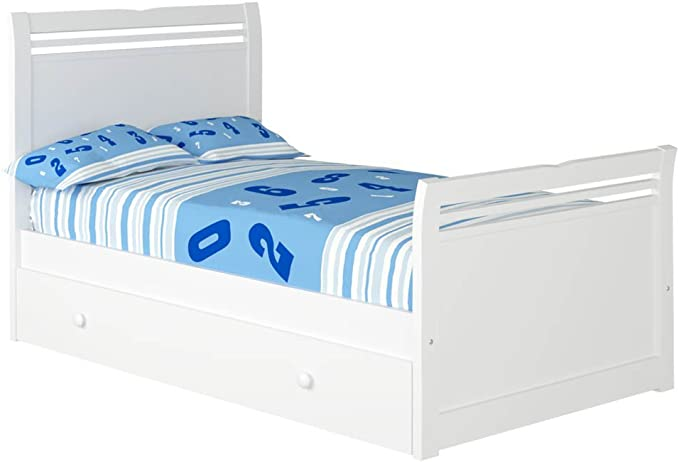 Cama Infantil Alas con Nido (Colchón 105 x 200, Blanco)