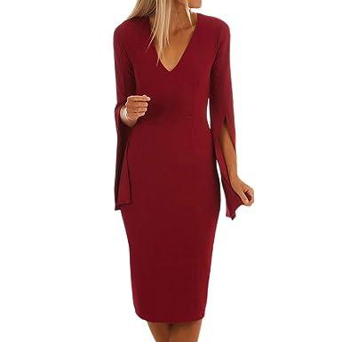 Streetwear Kleid Sunday Damen Solide elegant Kleid Bodycon Damen Knielang  Retro V-Ausschnitt Höhe Taille d5316a8f77