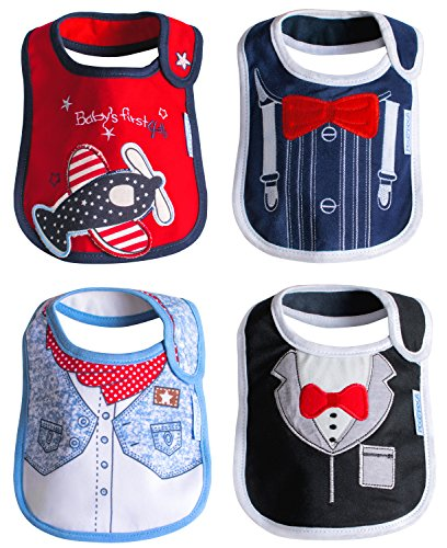 [Baby Drool Bibs Waterproof 4 Pack Gift Set 100% Cotton Teething Boys Girls Unisex] (Extra Head Costume)