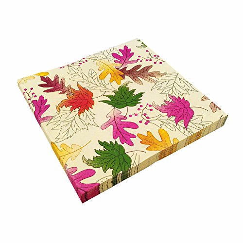 (Astra Gourmet 40-Pack Cocktail Napkins - Disposable Paper Party Napkins with Maple Leaves Prints - Soft and Absorbent - Perfect for Luncheons, Dinners and Celebrations - 6.5 x 6.5 Inches Folded)