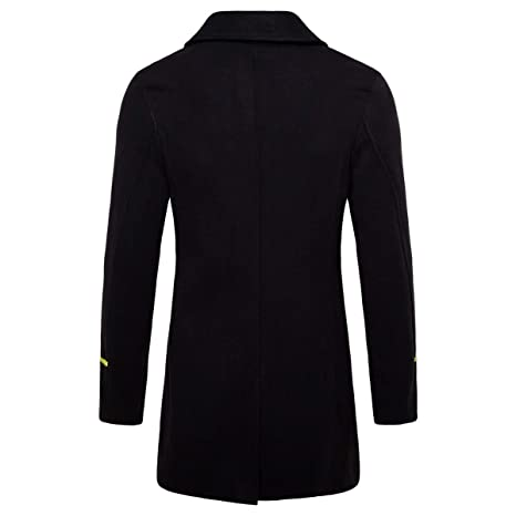 a0ae4a9f184c AOWOFS Men's Mid Long Wool Woolen Coat Winter Double Breasted Military  Overcoat Warm Trench Coat at Amazon Men's Clothing store: