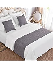 Simple Solid Color Imitation Hemp Bedroom Guesthouse Bedding Protection Decor Bed Scarf Runner