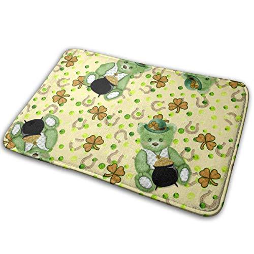 AndrewTop Indoor/Outdoor Doormats Irish Luck Teddy Leprechaun Non-Slip Durable Home Decor Mat 24 x 16 Inch