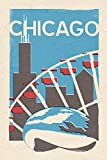 Chicago, Illinois - Woodblock (9x12 Collectible Art Print, Wall Decor Travel Poster)