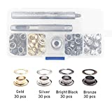 Okdeals Grommet Kit with 120 Pieces 1/4 Inch Metal Eyelets for Canvas Clothes, Leather, Bag, Shoes, DIY Project, 4 Colors