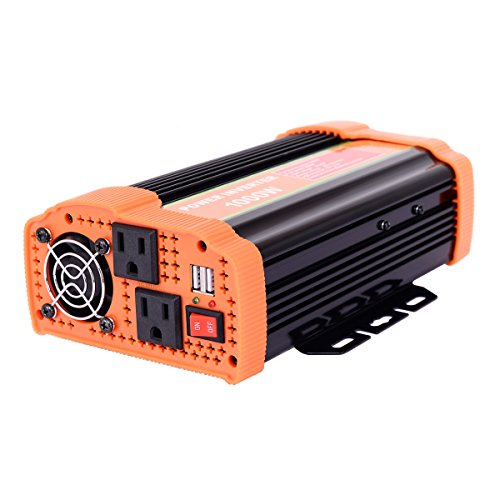 Goplus 1000W Power Inverter DC 12V to AC 110V Car Adapter Charger Converter W/ 2.1A Dual USB Charging Ports(Orange)
