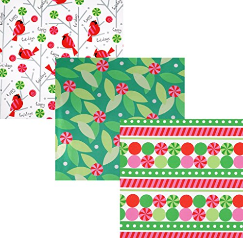 Candy Cane Cardinals Rolled Wrap Trio with Gift Tags - 24