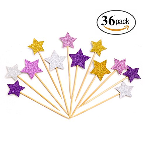 36pcs Twinkle Star Cupcake Toppers Glitter Gold Pink Sliver Purple Party Cake Decorations