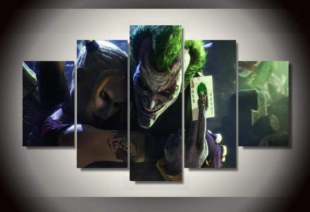 KOPASD Piy Painting 5 Piezas Cuadro sobre Lienzo Imagen Joker Y Harley Quinn Impresión Pinturas Murales Decor Dibujo con Marco Fotografía para Oficina Aniversario200X100Cm