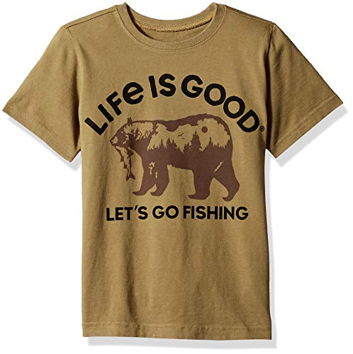 Life is Good Boys Fishing Bear Crusher Tee, Fatigue Green, Small