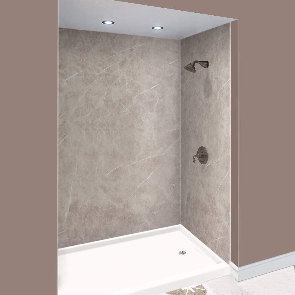 Transolid Expressions 48 In X 60 In X 96 In Glue To Wall Tub Shower Wall Kit In Dover Stone Amazon Com